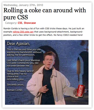 Ajaxian Rick Rolled